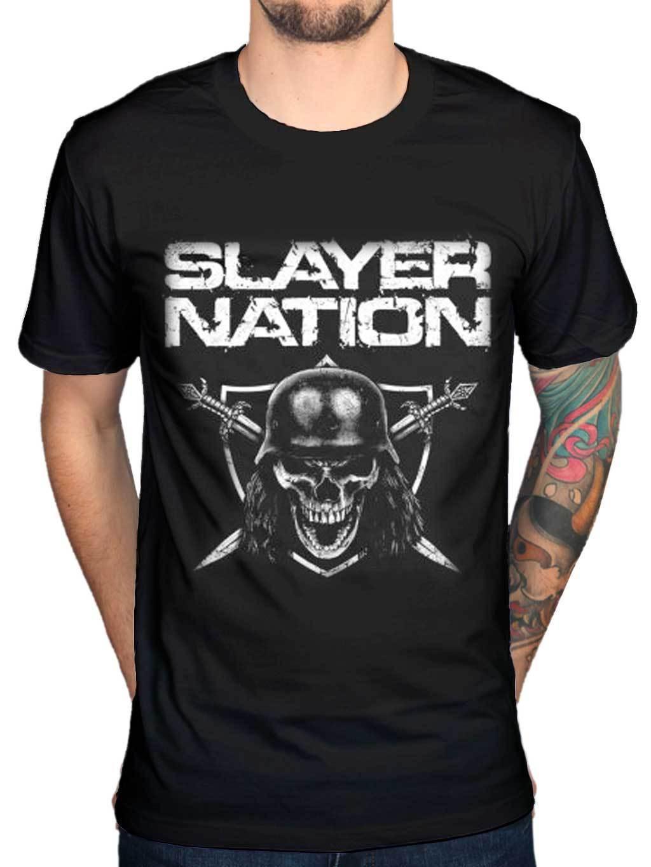Shirt design usa - Men S Funny Slayer Nation Skull Shield New T Shirt Band Merch Metallica Exodus Usa Design T