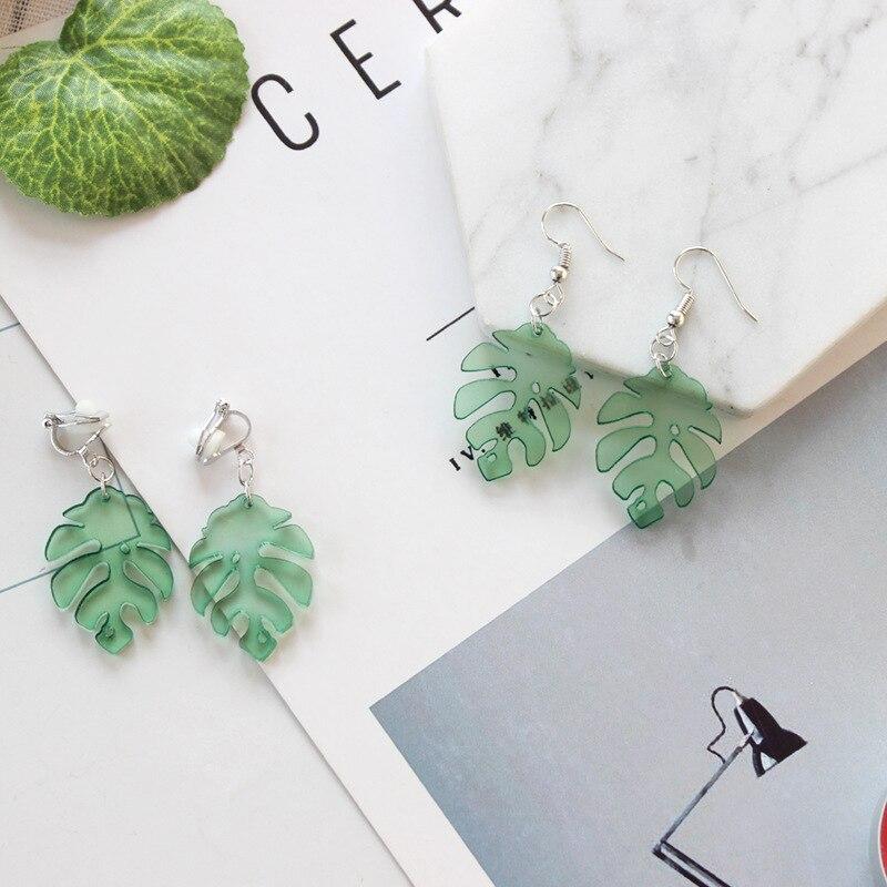 Fashion Earrings Literary Fresh Light Green Leaves Acrylic Temperament Earrings for Women Casual Campus Party Summer Earrings