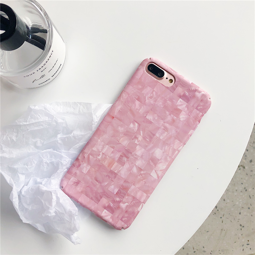 Cases for iPhone 7 Popular Fashion Lattice Texture Marble Phone Case Hard PC Matte for iPhone 7 Plus Candy color Back Cover Capa