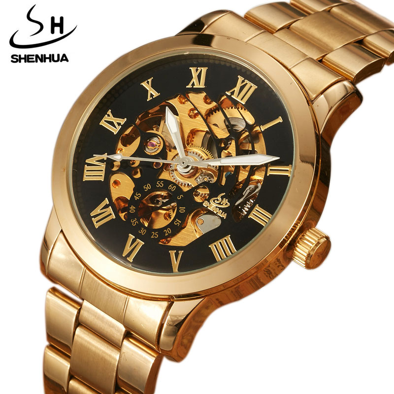 Luxury Top Brand Gold Men Watch Full Steel Hollow Automatic Mechanical Watch Men Skeleton Roman Numberal Fashion Watches relogio new mechanical hollow watches men top brand luxury shenhua flywheel automatic skeleton watch men tourbillon wrist watch for men