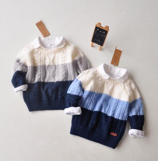 Kids Baby Hemp flowers Twist color matching pullovers Sweater children baby cotton sweater Wholesale