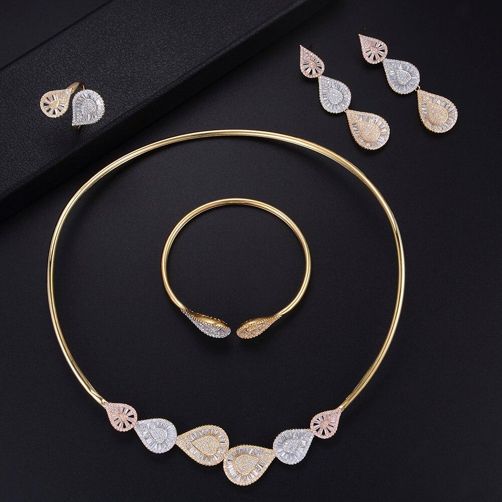 Luxury Waterdrop Adjustable Necklace Bracelet Earrings Ring Full Micro Cubic Zirconia Sets Dress Jewelry Sets все цены