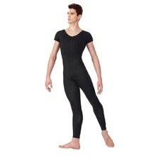 Speerise Adlut One Piece Black Mens Short Sleeve Unitard Lycra Ballet Full Body Tight Jumpsuit Dance Costumes Bodysuit