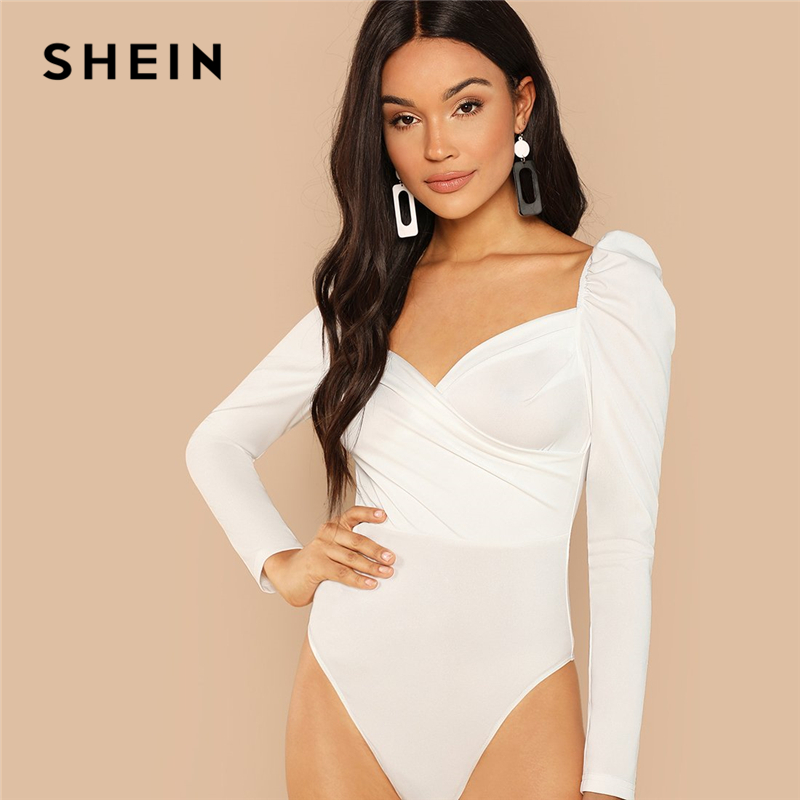 SHEIN White Elegant Office Lady Puff Sleeve Surplice Neck Ruched Solid Mid Waist Bodysuit 2018 Autumn Workwear Women Bodysuits 1