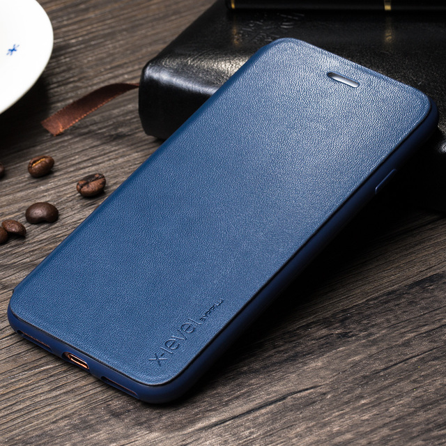 pretty nice 37e59 a51a0 X Level Flip Leather Case for iPhone 8 Soft Edge Case Luxury Brand Full  Protective Ultra Thin Back Cover Case for iPhone 8 Plus-in Flip Cases from  ...