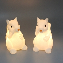 ECO-Friend PVC Animal Shaped Battery Powered Warm White Night Light Toys Home Holiday Desktop Kids Toy Gifts (Squirrel)