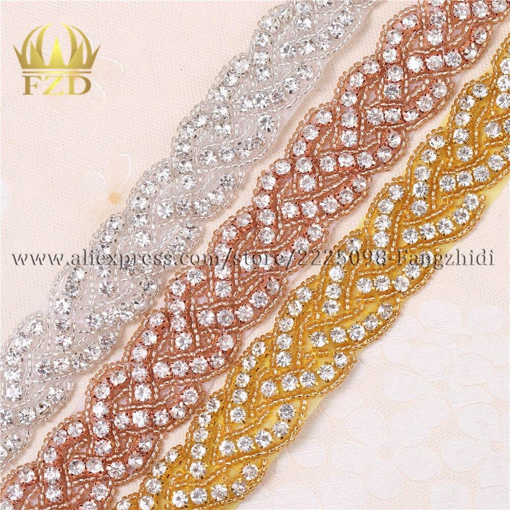 FZD 30 yardas de costura Hotfix cristal con cuentas apliques de diamantes de imitación vestidos de novia faja para la decoración de la boda-in Diamante de imitación from Hogar y Mascotas    1