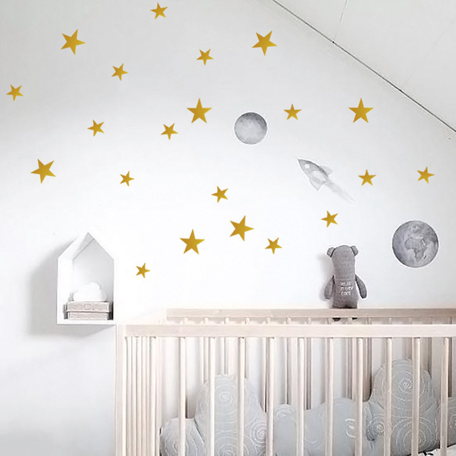 gold stars wall sticker for kids room baby nursery room wall