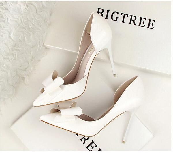 {D&H}Brand Women Shoes High Heels Women's Pumps Bow Two Piece Thin Heel Wedding Shoes Valentine Shoes White zapatos mujer 8