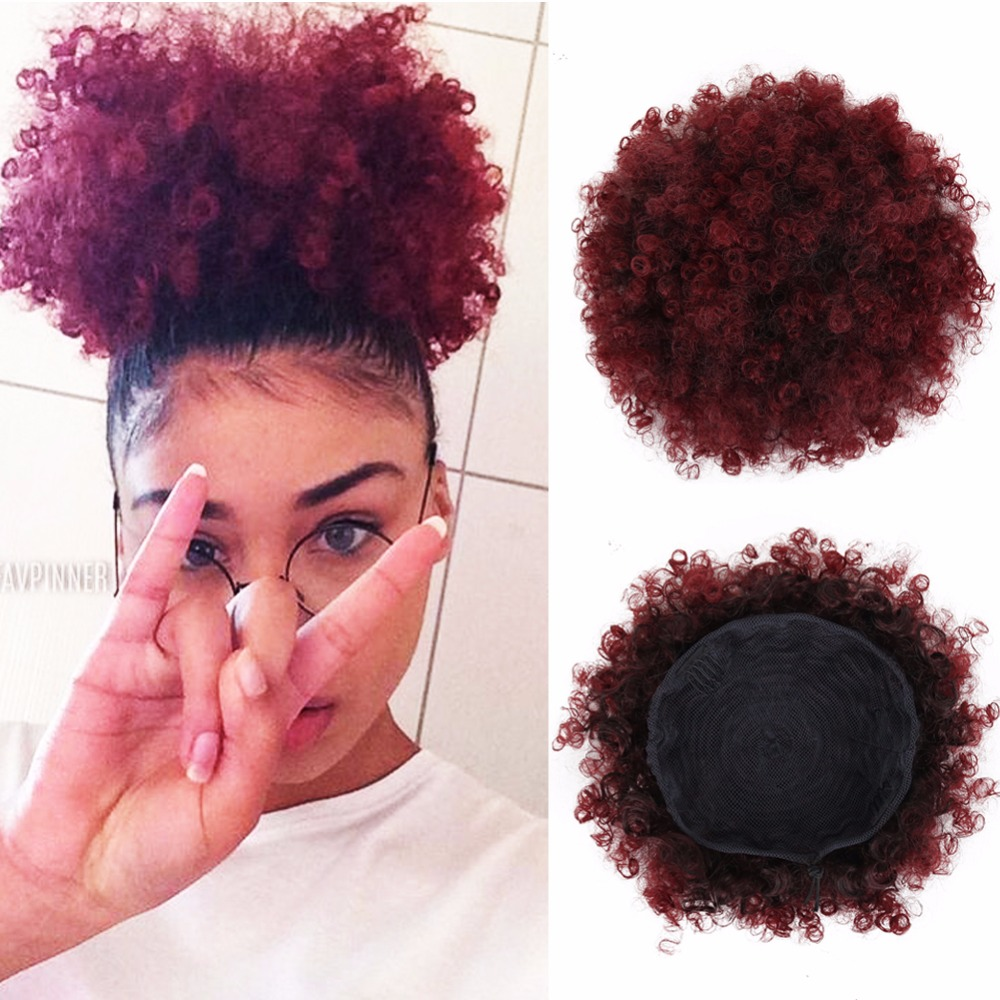 Deyngs Short Afro Kinky Curly Ponytail Drawstring High Puff Afro Curly Pony tail Clip in on Synthetic Curly Hair Bun Kanekalon