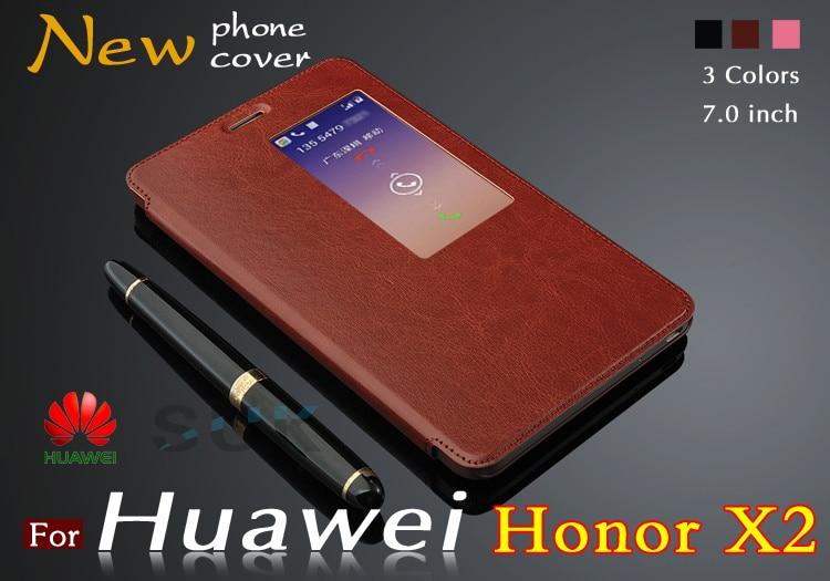 Цена за Новый Роскошный кожаный чехол Для Huawei Honor X2 случае MediaPad X2 флип кожаный чехол для Huawei Honor 2 С окном Свободная доставка
