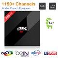 S912 H96 Pro + caixa de tv Amlogic 3 GB/32 GB smart tv + 1 ano servidor IPTV árabe Francês EUA REINO UNIDO Suécia Itália África Europeia 1150 + Canais