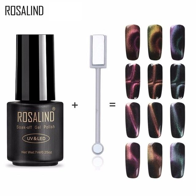 ROSALIND Gel Polish Nails 3D Magnet Magic Cat Eye Gel Nail Polish Varnish Long-lasting Nail Art Soak Off UV Hybrid gel lacquer