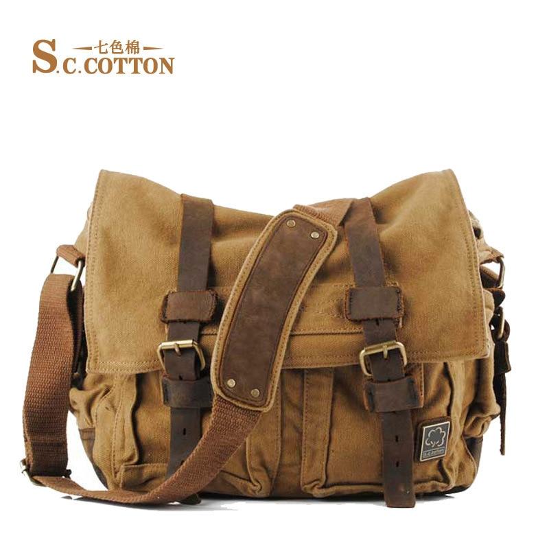 Men s Women s Casual Vintage Canvas Leather Cotton Rucksack Mountaineering Messenger Bag School Shoulder Bag