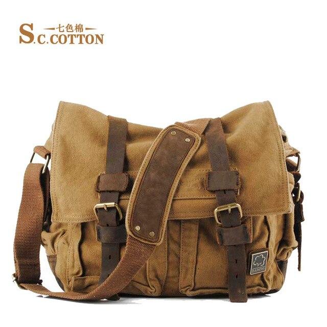 bd0bdf1b5ea5 S.C.COTTON Men s Women s Casual Vintage Canvas Leather Cotton Rucksack  Mountaineering Messenger Bag School Shoulder Bag