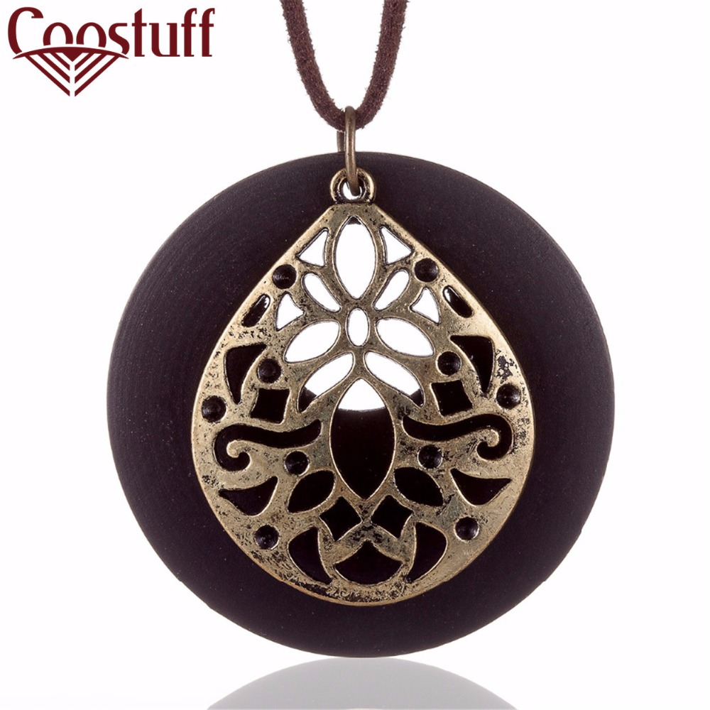 2017 New Coming statement necklaces & pendants vintage Flower Wooden pendant Long necklace women collares mujer colar choker