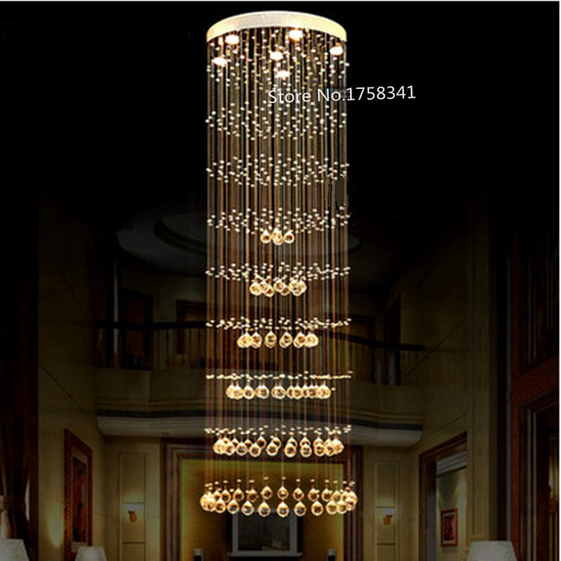 discount staircase light chandelier double circular k9 living room crystal bedroom lamp hallchina - Discount Chandeliers