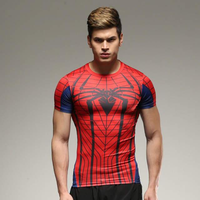 US $5.98 43% OFF|Marvel Super Hero Avengers Captain America 2 Batman T shirt Men homme Man Base Layer Thermal Tight Top FitnessSport Tee Shirt|batman