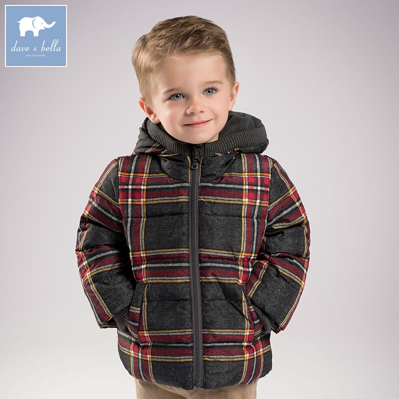 DB6103 dave bella winter baby boys brown plaid down jacket children white duck down padded coat