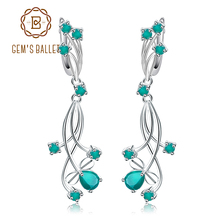 68d726637 GEM'S BALLET Fine Jewelry 2.88ct Natural Green Agate Bridal Drop Earrings  For Women 925 Sterling Silver Wedding Jewelry