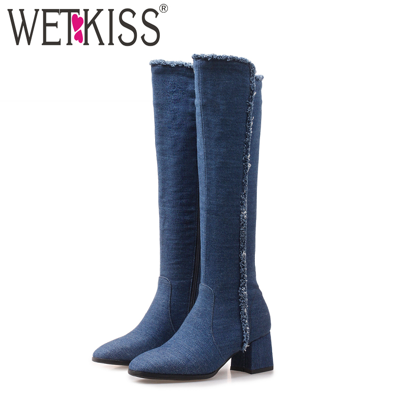 WETKISS Denim High Heels Women Boots Zip Round Toe Footwear Fashion Stretch Female Boot Ripped Knee High Shoes Women 2018 Winter zip front ripped denim overalls