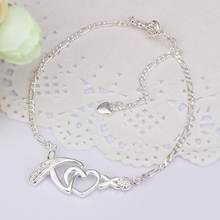 Wholesale Free Shipping silver plated Anklets,silver plated Fashion Jewelry Heart Anklets SMTA002