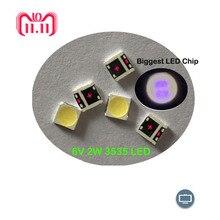 Rétro éclairage LCD, 50 pièces pour LG LED, Application TV, haute puissance LED, 2W, 6V 3535 SMD LED, blanc frais