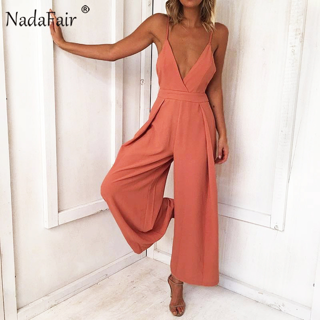 d4c0ca4ee132 Nadafair Sleeveless Deep V Neck Backless Bow Sexy Jumpsuit Women Wide Leg  Pants Casual Rompers Loose Overalls