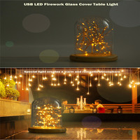 Premium USB LED Firework Glass Cover Table Light Night Light Wood Base Bedside Lamp A Christmas