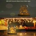 USB Premium Firework LED Tampa De Vidro de Madeira Mesa de Luz Luz Da Noite Base Da Lâmpada de Cabeceira Um Café da Festa de Presente de Natal Para Criança