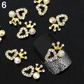 10 Unids 3D Aleación Rhinestone Glitters Nail Art Salon Decal Stickers Tips de BRICOLAJE Decoraciones
