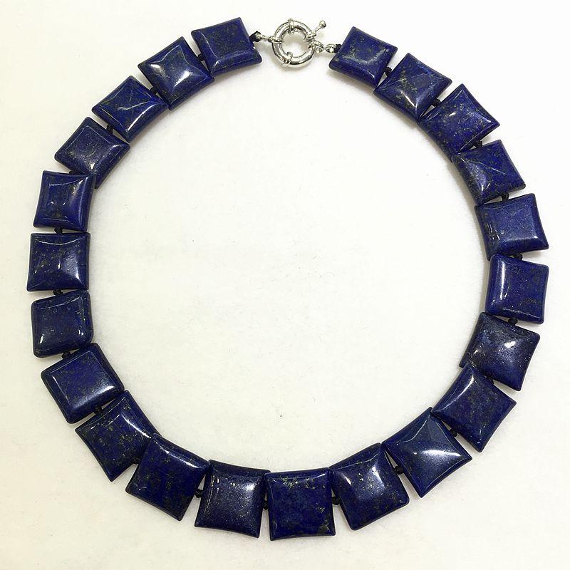 dark blue Lapis lazuli jewelry stone necklaces square shape plus size good shine bohemian bamboo choker style special for women