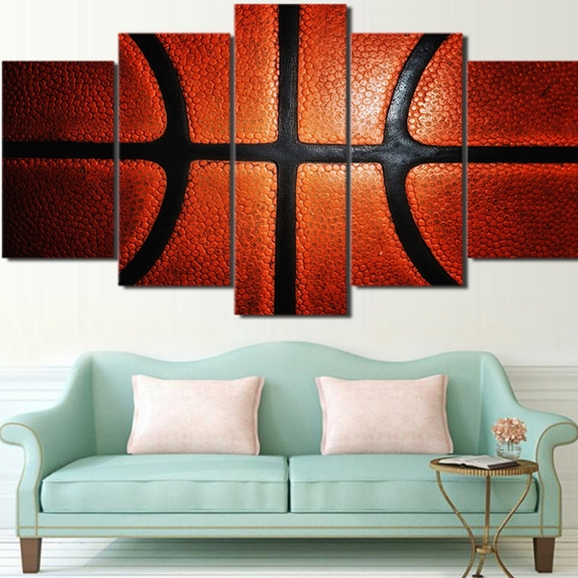 Perfect Canvas Wall Art Picture Frame Kitchen Restaurant Decor 5 Pieces Basketball  Surface Sports Living Room HD
