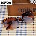HEEVOO 2016 Nuevo Popular Retro Diseñador Estupendo Redondo Del Círculo Gafas de Ojo de Gato Semi-Sin Montura de Las Mujeres gafas de Sol Gafas Gafas