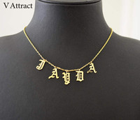 V Attract Gothic Choker Old English Name Necklace Personalized Number Nameplate Gold Color Collier Femme Custom