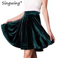 Singwing Womens Velvet Metallic Pleated Skirt Vintage Casual Female Soft Retro Skirt High Elastic Elegant Ladies