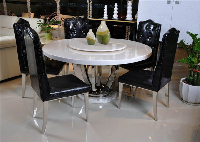 Modern Marble Dining Table Dining Table IKEA Pastoral European Luxury Stainless  Steel Rotary Table Round Table