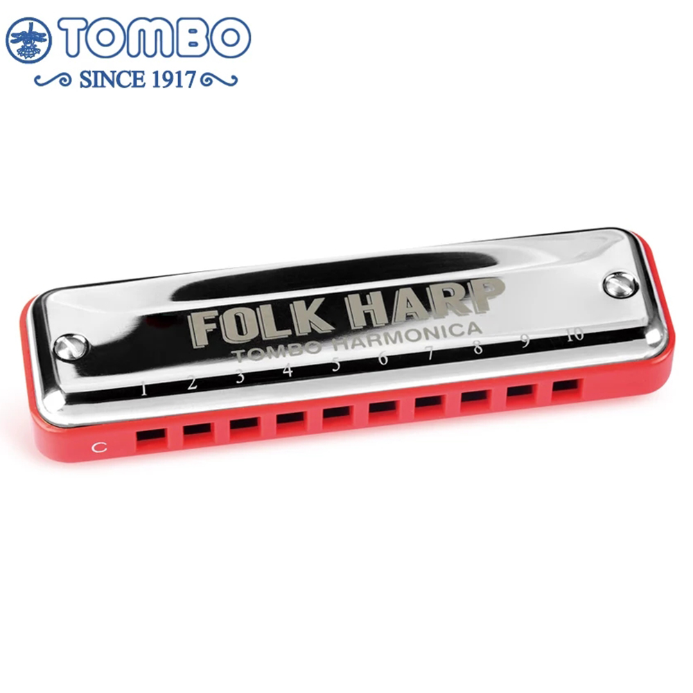 Tombo Folk Harp 6610H Diatonic Harmonica 10 Holes Blues Mouth Organ ABS Comb Key C Brass Professional Musical Instruments Paddy