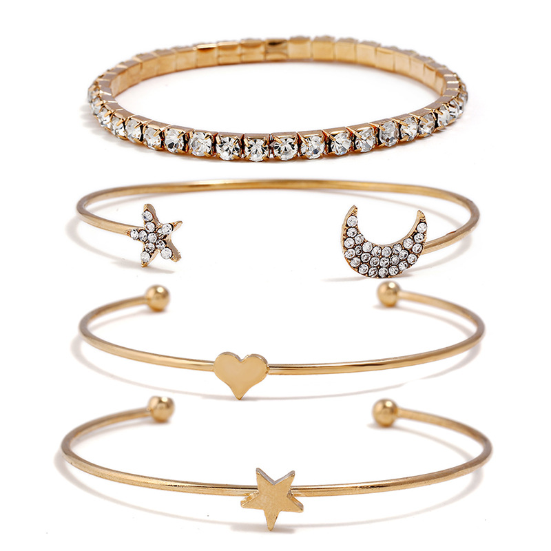 bangle set bracelets for women carter love bracelet summer jewelry rhinestone star moon heart cuff bracelet pulseira feminina
