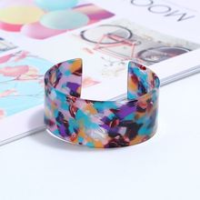 Leopard Bangle Opening Bracelet Women Lady Charms Acrylic Decoration Floral Print Fashion Trend Gifts Elegant Ethnic Style