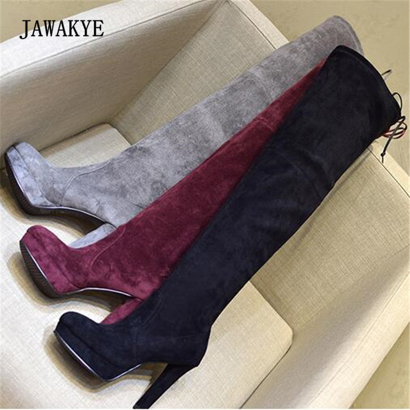 2017 Platform Over The Knee Boots Woman Pointed Toe Suede High Heel Long Boots Women Fashion Slim Stretch Boots