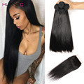 7A Malaysian Virgin Hair Straight with Closure Malaysian Hair Weaves 4 Bundles with Closure Malaysian Straight Hair with Closure