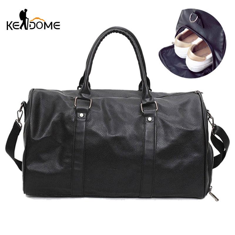 Black Sports Bag for Shoes Lady Male Gym Bag Leather Large Capacity Training Yoga Fitness Bag Travel Shoulder Handbag XA366WD недорого
