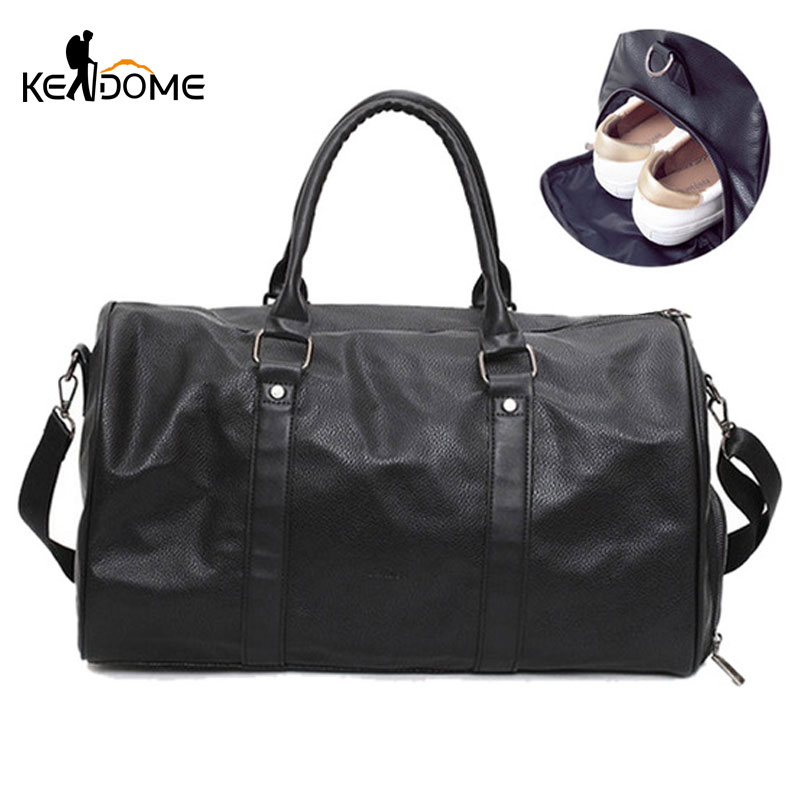 Male Female PU Leather Travel Duffle Bags Waterproof Handbag Sprot Gym Bag for Shoes Large Capacity Fitness Shoulder Bag XA366WD