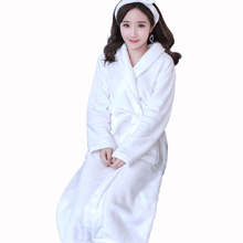 Cotton Women Bathrobe Nightgown Towel Fleece Nightdress Sexy Night Robe White Red Lovers Long Soft Autumn Winter robes