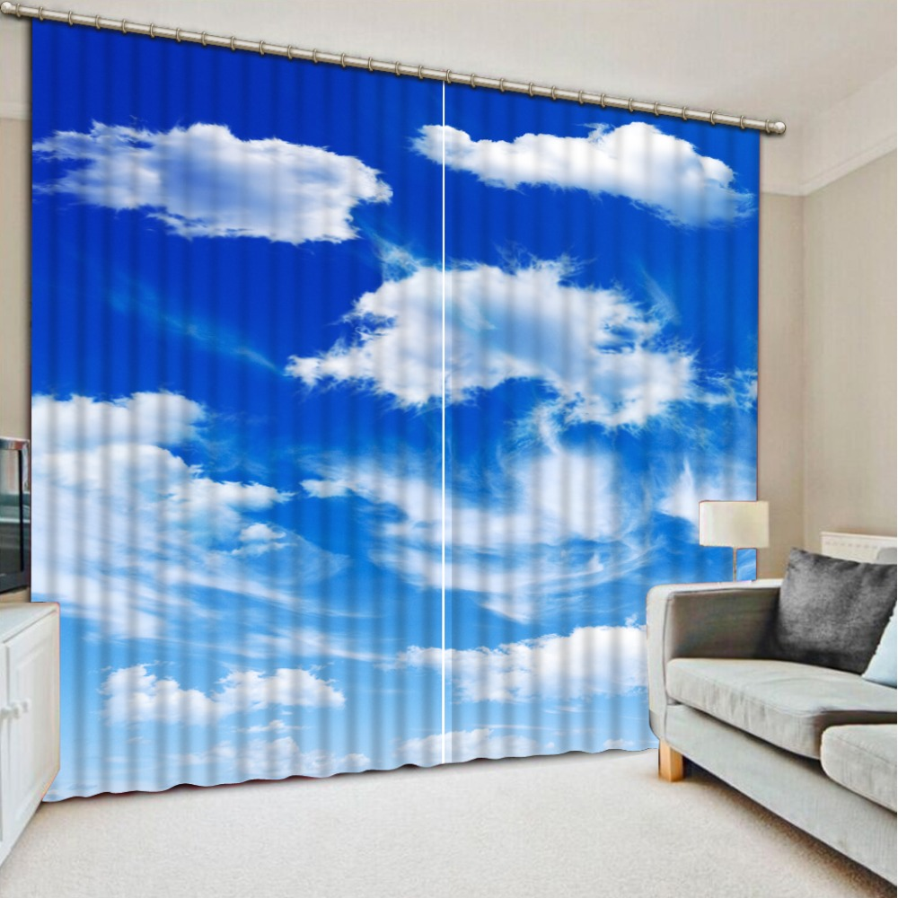 3D Curtain Custom Blue sky and white clouds Curtains For Bedroom Custom Any Size Curtain Blackout Curtain Living Room Window