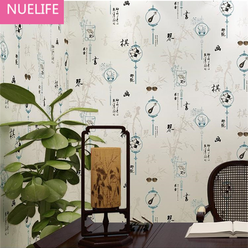 0.53x10 Meter Chinese style Classical Calligraphy and Painting Pattern Wallpaper Living Room Bedroom Study room Wallpaper
