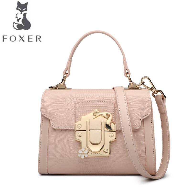 54908a1146c FOXER Women s handbag temperament small square bag 2017 new lizard pattern  leather buckle single shoulder Messenger