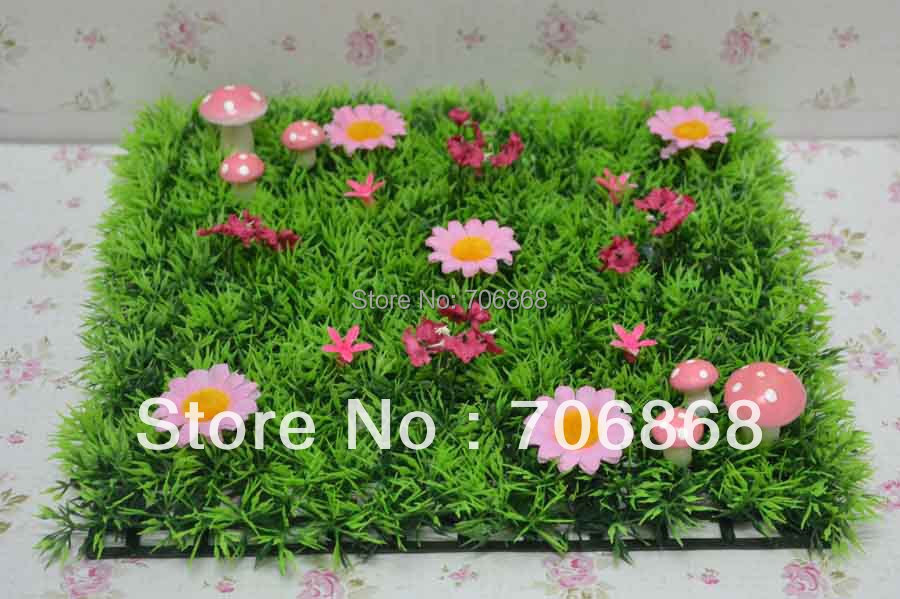 Free shipping 2525 artificial plastic grass mat with pink mushroom free shipping 2525 artificial plastic grass mat with pink mushroom and pink flowers fairy door wedding party table runner in artificial dried flowers mightylinksfo