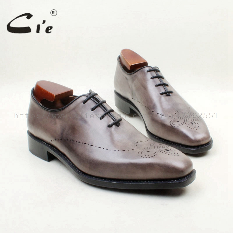 cie Square Toe Light Grey Cut-Outs Whole Cut Lace-Up Goodyear Welted 100%Genuine Calf Leather Outsole Breathable Men's ShoeOX701